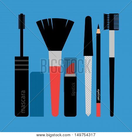 Set of cosmetic tassels, brushes and pencil for eyes