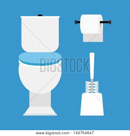 Toilet, toilet paper and brush for cleaning the toilet bowl
