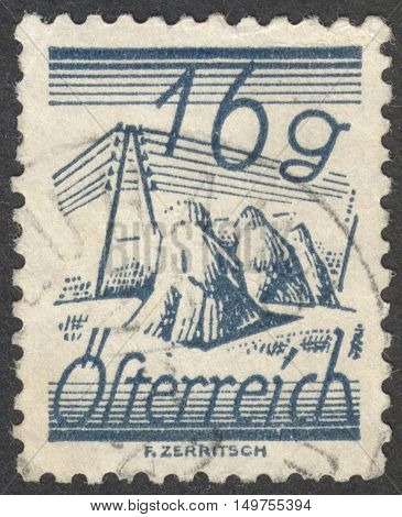 MOSCOW RUSSIA - CIRCA SEPTEMBER 2016: a stamp printed in AUSTRIA shows fields crossed by telegraph wires the series