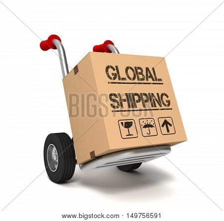 global shipping cardboard box 3d illustration isolated on white background