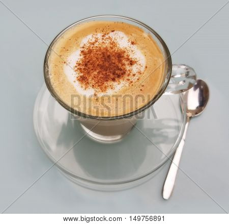 Delicious cappuccino cup with cream froth and cinnamon