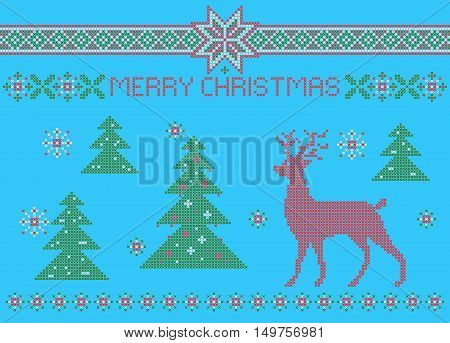 Funny christmas card, cross stitch pattern imitation.