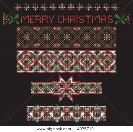 Christmas seamless ribbon patterns, separated from background, cross-stitch embroidery imitation. Pattern brushes are included in vector file.