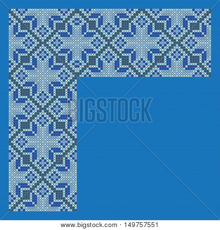 Corner element for decorative frame, cross-stitched embroidery imitation. Separated from background.