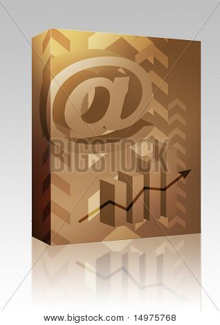 Software package box Abstract financial success illustration with electronic at symbol