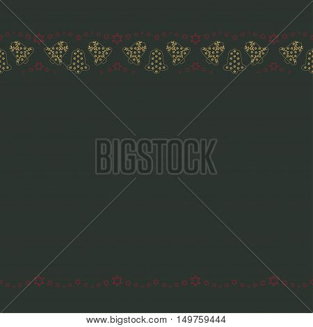 Repeating yellow bells with red stars silhouette pattern on the green background. Border frame with space for text. Christmas and Happy New Year symbol concept. Vector illustration