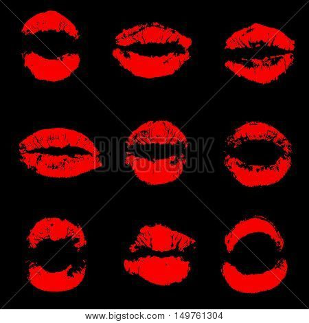 Set of red lip prints on isolated black background vector illustration