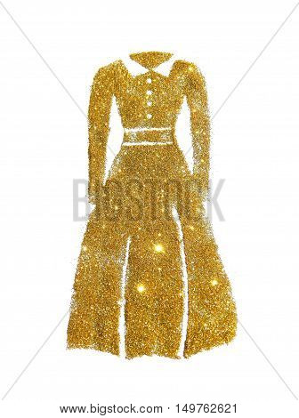 Long sleeve dress with collar of golden glitter on white background