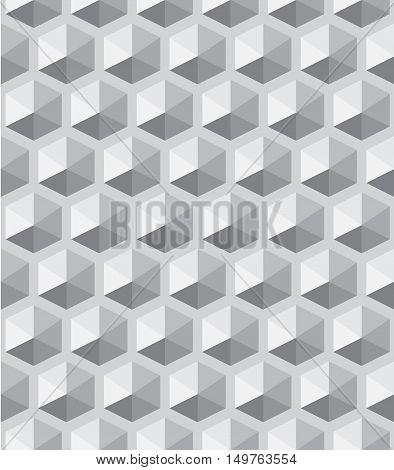 Seamless volumetric hexagonal pattern, tints of gray. Pattern swatch is included in vector file.