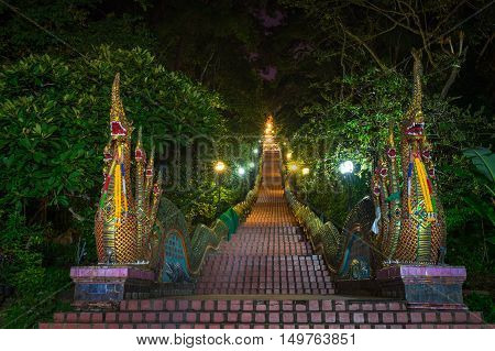 Dragon Stairs to Wat Phra that doi suthap Temple chiang MaiThailand.