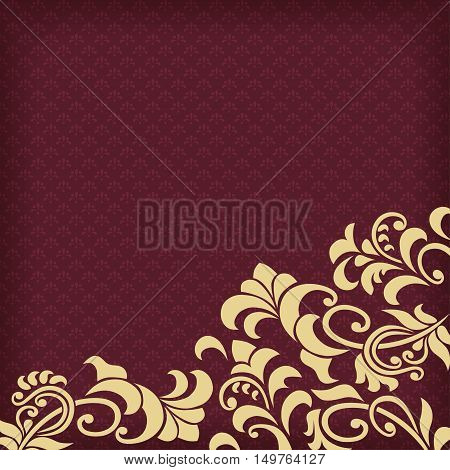 Dark red background with pattern and vignettes.