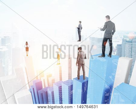 Businesspeople standing on white and blue bar chart with city panorama at background. Concept of broker company and trading.