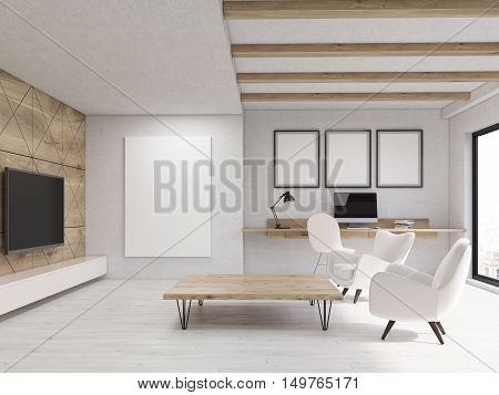 Living Room With Wooden Elements