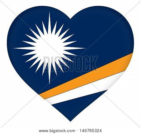 Illustration of the flag of The Marshall Islands shaped like a heart