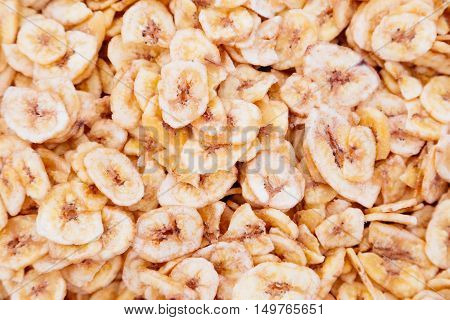 banana chips for background uses. Health food concept