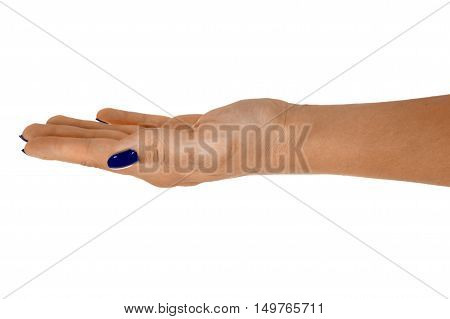 Open hand showing anything beautiful woman's skin blue manicure. Isolated on white background.