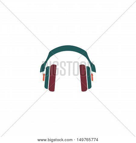 Earphones Icon Vector. Flat simple color pictogram