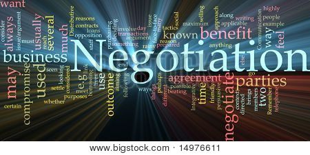Word cloud concept illustration of negotiation business glowing light effect