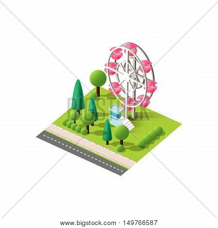 Stock vector illustration isometrics isolated amusement park with a Ferris wheel with arranged territory info graphics elements for entertainment center, recreation area of city on a white background