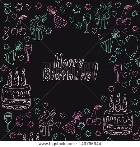 Birthday doodles collection for decoration isolated easy to recolor