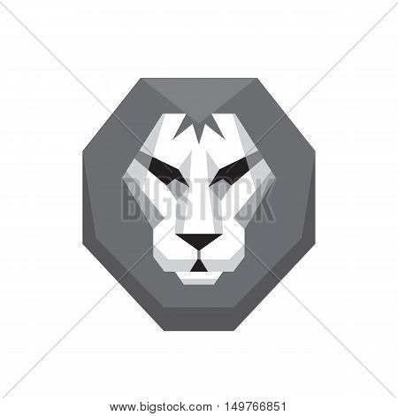 Lion head - vector logo sign concept illustration in flat style design in grayscale colors. Wild cat graphic art. Design element.