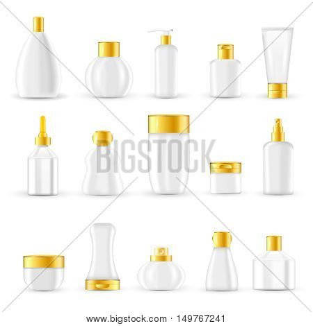 Cosmetic packaging design set with white glass or plastic containers and golden lids isolated vector illustration