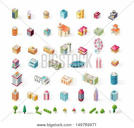 Stock vector big set illustrations isometrics isolated building for business center info graphics elements on a white background