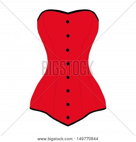 corset elegant red sexy isolated vector illustration