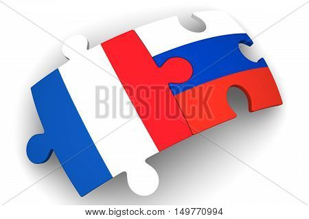 Cooperation between the Russian Federation and France. Puzzles with flags of the Russian Federation and France on a white surface. The concept of coincidence of interests in geopolitics. Isolated. 3D Illustration