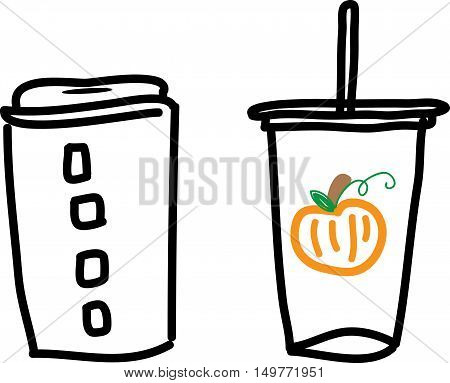 Vector Illustration of Takeaway Hot Coffee and Pumpkin Iced Coffee