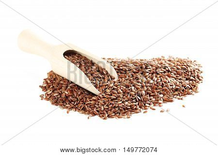 Flax seeds isolated on a white, close up