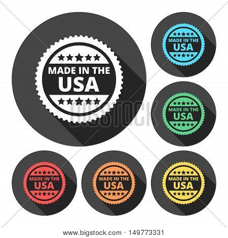 Made in the USA icons set with long shadow