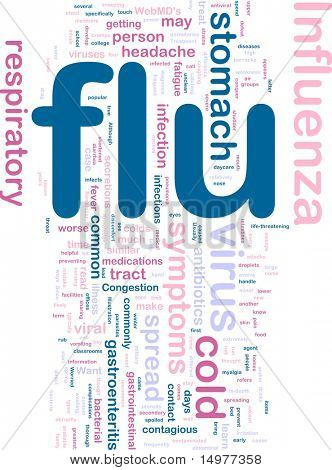 Word cloud concept illustration of  flu influenza