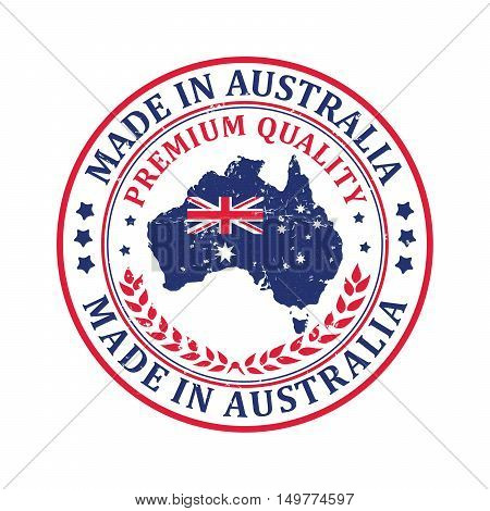 Made in Australia, Premium Quality - stamp / sticker with the Australian map and flag. Print colors used