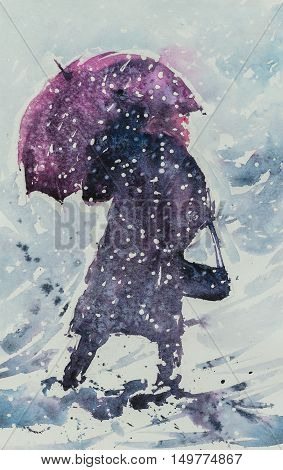 Woman with umbrella and handbag going in deep snow during snowy storm .Picture created with watercolors.
