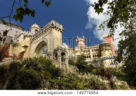 Pena Palace in Sintra Portugal. once the Palace of kings now a national Park