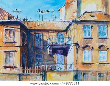Old architecture in Split.Picture created with watercolors.