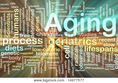 Word cloud concept illustration of age aging glowing light effect