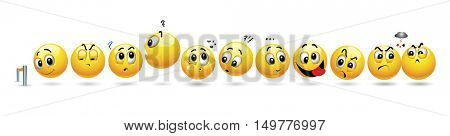 Smiling balls waiting in a row. Vector set of smiley icons with different face expression lined up in a row.