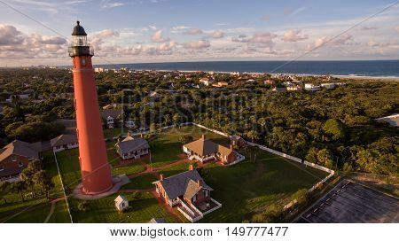 Aerial view of lighthouse in Daytona Beach Florida