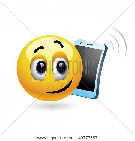 Smiley talking on a phone. Vector illustration of a smiley cheerfully chatting on his cell phone.