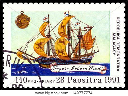 STAVROPOL RUSSIA - September 01 2016: a stamp printed in Malagasy Republic shows Frigate Golden Hind circa 1991.