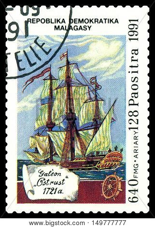 STAVROPOL RUSSIA - September 01 2016: a stamp printed in Malagasy Republic shows Galleon Ostrust circa 1991.