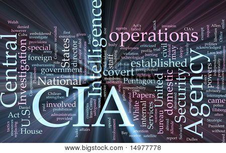 Ilustración de concepto de nube de palabra de efecto luz brillante de la Agencia Central de inteligencia CIA.