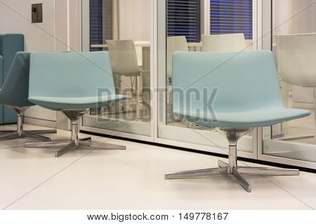 Two Blue Modern Contemporary Chairs Furniture Architecture Pure