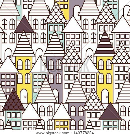 Partially colored outline town seamless vector pattern. City landscape with houses repeat background. Line style coloring page.