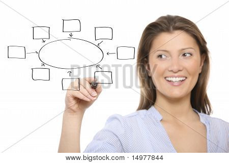 Nice Woman Drawing A Diagram