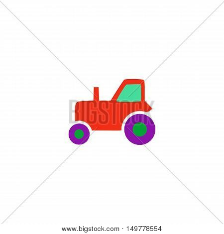 Tractor Icon Vector. Flat simple color pictogram