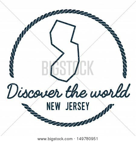 New Jersey Map Outline. Vintage Discover The World Rubber Stamp With New Jersey Map. Hipster Style N