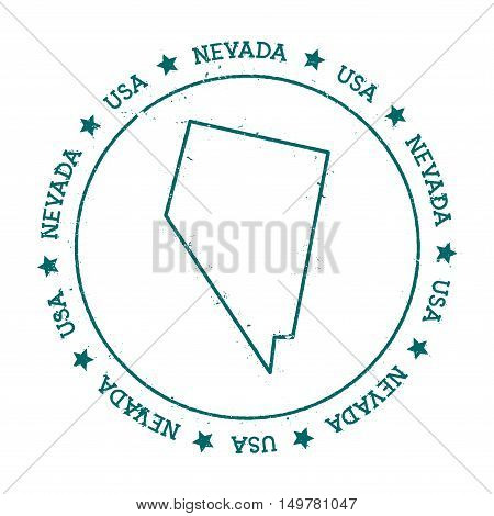 Nevada Vector Map. Retro Vintage Insignia With Us State Map. Distressed Visa Stamp With Nevada Text